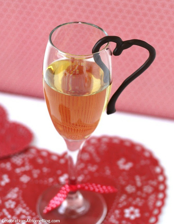 hang a chocolate heart on glass rim