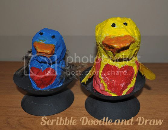 kids crafts-paper mache love birds