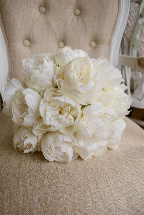 Luxury ivory peony wedding bouquet in 2019   Bridal