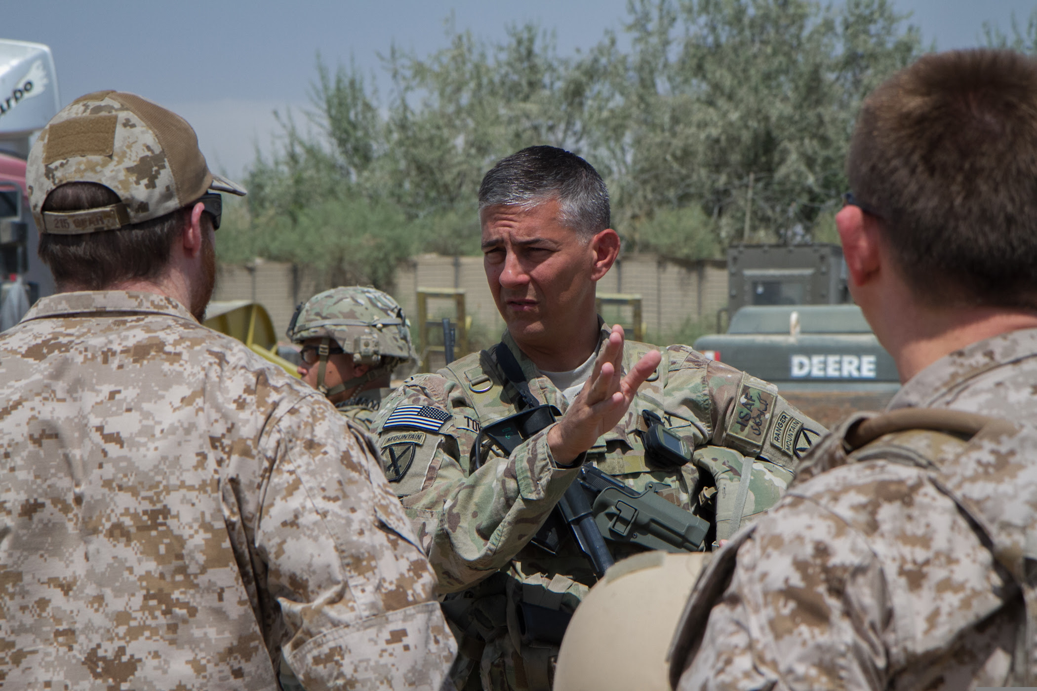 U.S. Army Maj. Gen. Stephen Townsend, the commander of Combined Joint Task Force 10 and Regional Command East, speaks with Service members during a visit to Baraki Barak, Logar province, Afghanistan, Aug. 25, 2014. (U.S. Army photo by Master Sgt. Kap Kim/Released)