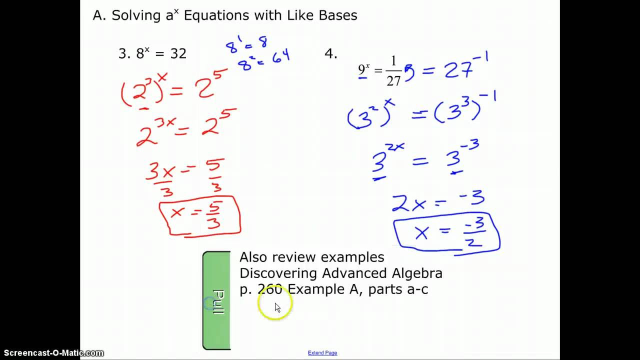Solving Logarithmic Exponential Equations Calculator