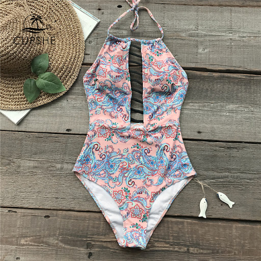 24f8725a08873 Best Price CUPSHE Pink Halter Strappy One-piece Swimsuit Women Sexy  Bodysuits Swimwear With Padding Bra 2018 Girl Beach Slim Monokinis