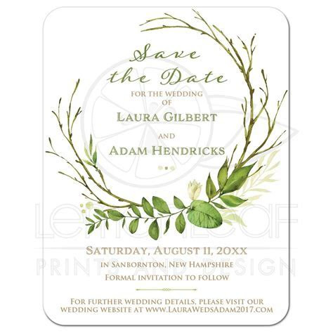 Greenery Foliage Wedding Save the Date Card   Watercolor