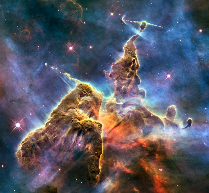 A Hubble Space Telescope image of the Carina Nebula...which is located 7,500 light-years from Earth.
