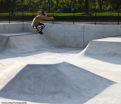 Me doing a Mute grab over fun box at new Fukushima skate park