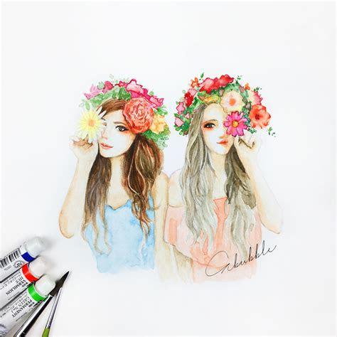 flowers  girls  friends  dessin amitie