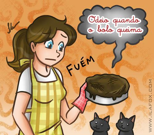 Eu odeio quando o bolo queima, ilustração by ila fox