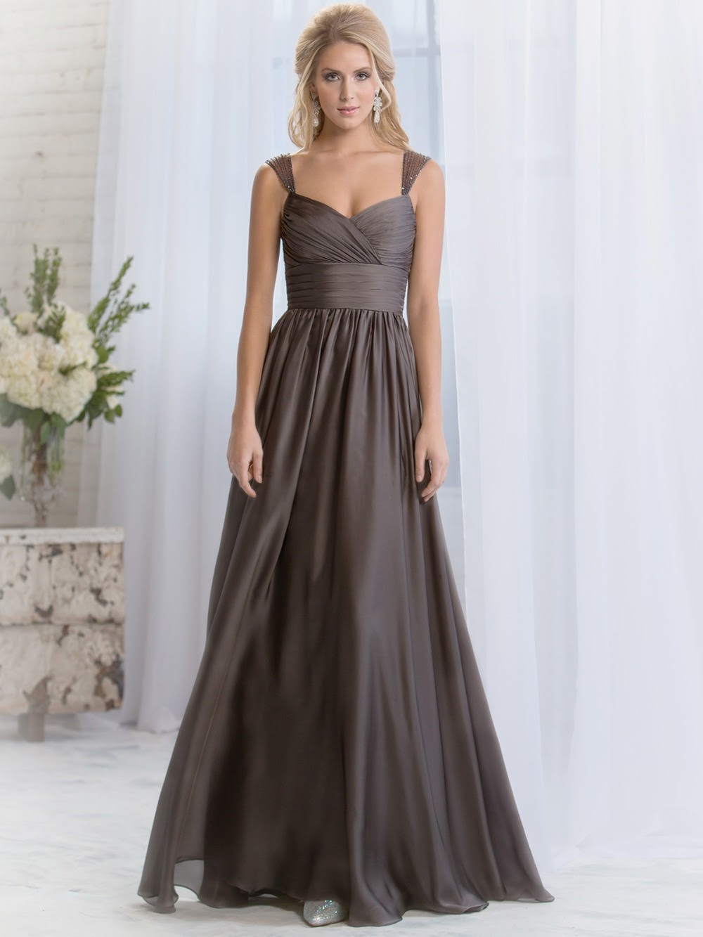 cheap modest sexy chiffon beading dark brown wedding guest
