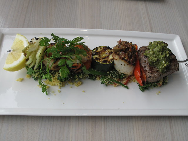 meat and fish brochette