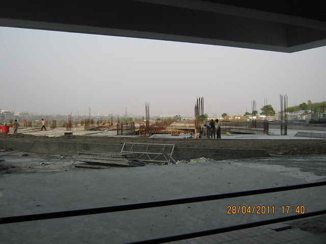 Podium - view from the lobby of Wide passages in the lobby of  Sangria Towers at Megapolis Hinjewadi Phase 3, Pune
