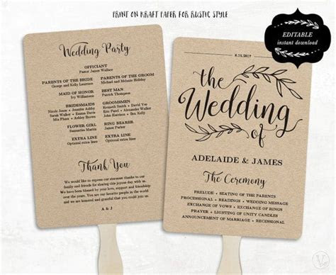 printable wedding program template rustic wedding fan