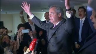 El líder de l'euroescèptic UKIP, Nigel Farage, eufòric pels resultats