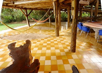 Solid color cement tile in the lower level patio of Oscar Imbert's Tree House