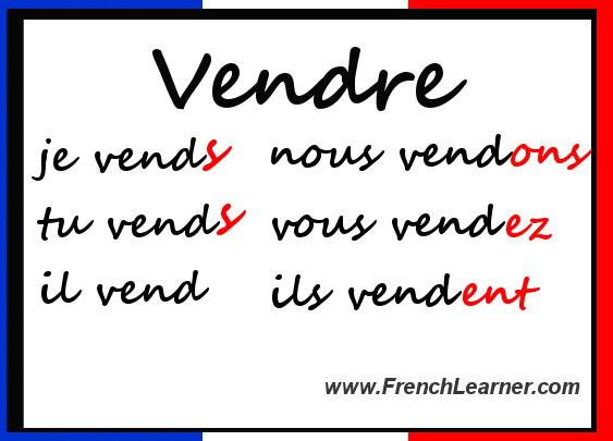 Czasowniki trzeciej grupy - odmiana czasownika vendre - Francuski przy kawie