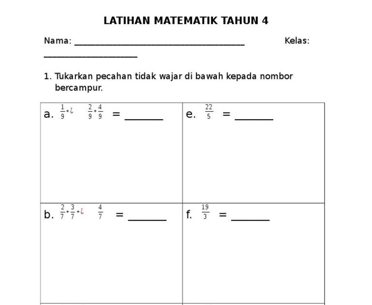 Soalan Matematik Tahun 4 Pecahan Spooky H