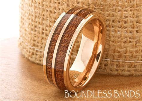 Hawaiian Koa Wood Inlay Ring Rose Gold Tungsten Ring Wood