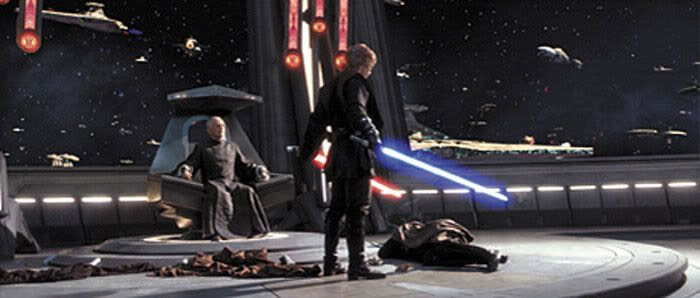 Anakin stares down at Dooku's body after he is decapitated by the Jedi Knight.
