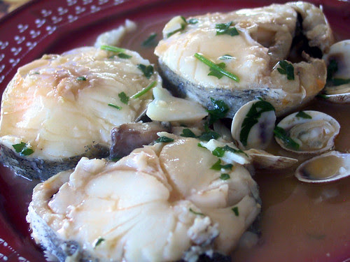 Hake with clams sauce