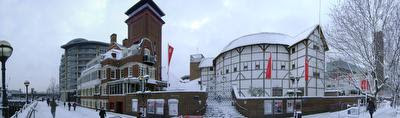 Photo of Shakespeare's Globe Theatre covered in snow in Bankside, London, taken on 2009-02-02