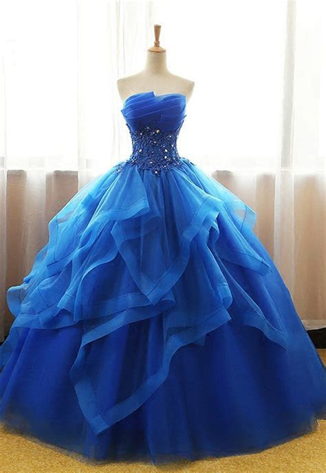 Sweetheart royal blue tulle long ball gown, strapless lace