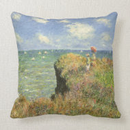 Cliff Walk at Pourville by Claude Monet throwpillow