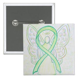 Lime Green Angel Awareness Ribbon Art Lapel Pin