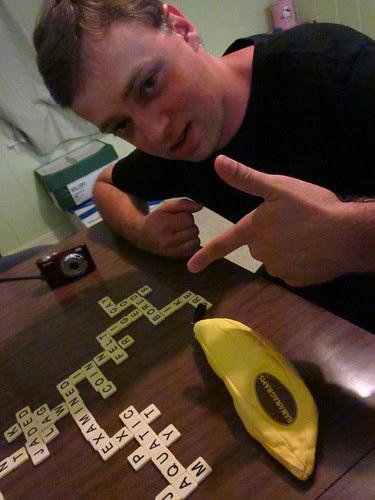 Joey and his winning Bananagrams.