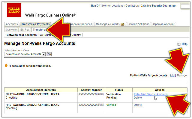 Enter Wells Fargo Trial Deposits