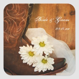 White Daisies and Cowboy Boots Country Wedding Square Sticker