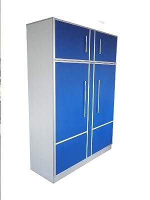 schrankbett wandbett 50 140x200 cm holzfarbe blau alu hochkant inkl bettkasten beste angebot. Black Bedroom Furniture Sets. Home Design Ideas