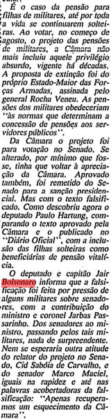 """Bolsonaro FALSIFICA um projeto de lei – e alega """"pressão dos militares"""" (Arquivo da FSP 04/09/91)"""