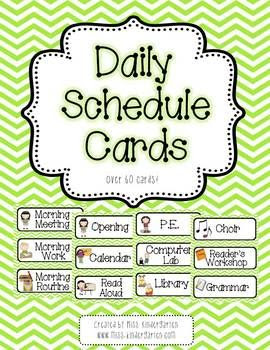Pink and Green Chevron Daily Schedule Cards- With and Without ...