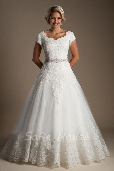 Classic Ball Gown Cap Sleeve Tulle Lace Modest Wedding