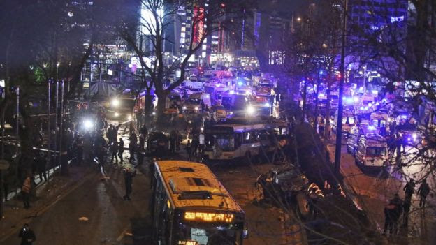 Scene of an explosion in Ankara, Turkey, Sunday, March 13, 2016