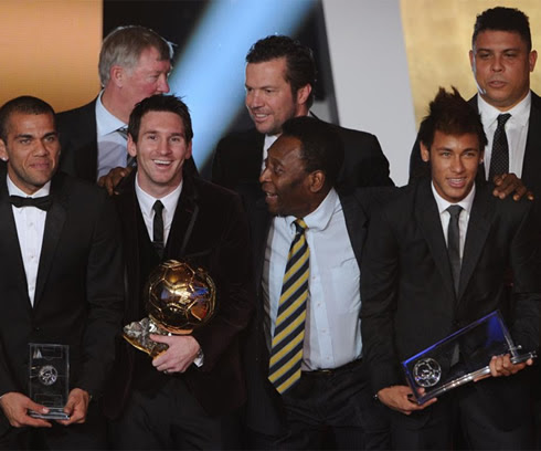 Daniel Alves, Messi, Pelé, Neymar, Ronaldo, Lothar Mathaus and Sir Alex Ferguson at the FIFA Balon d'Or 2011 awards