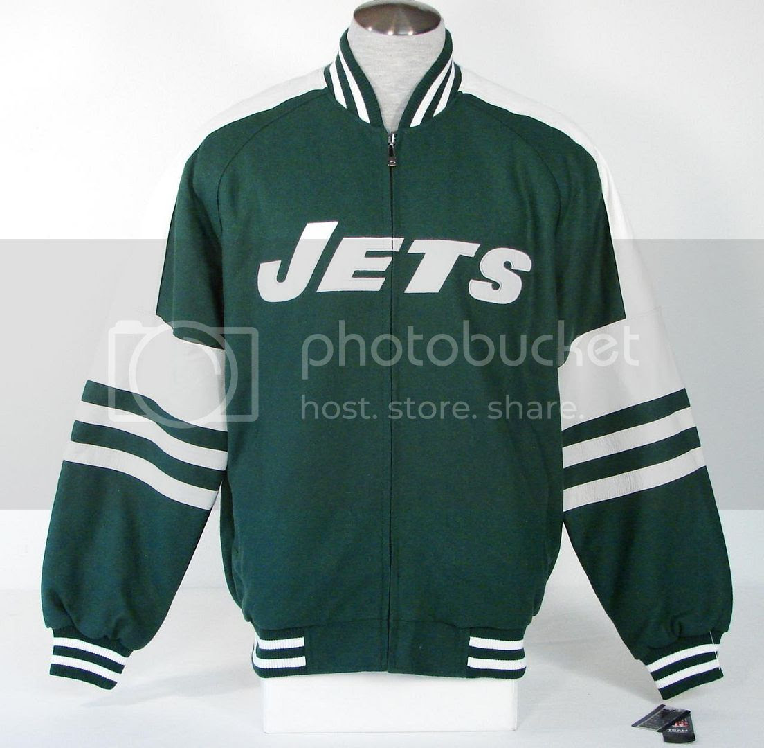 NFL Team Apparel New York Jets Reversible Wool Leather Varsity Jacket Mens  eBay