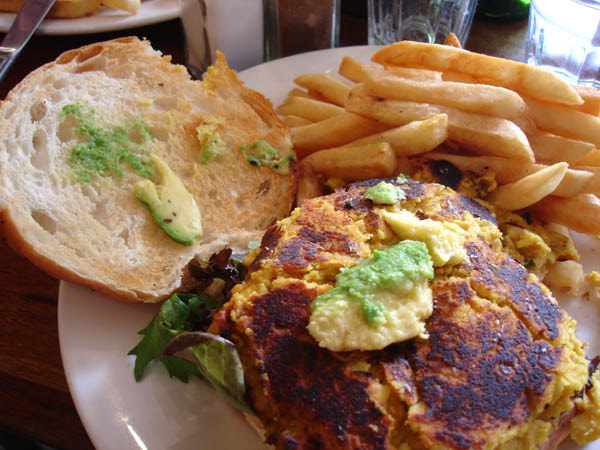 "My Cafe (Canberra) - ""Guacamole"" on lentil and macadamia burger"
