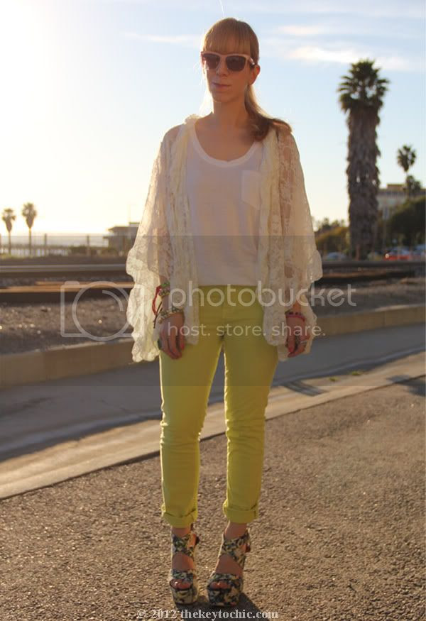 Free People lace kimono, J Brand neon jeans, River Island floral wedges, Los Angeles fashion blogger, southern California fashion blog