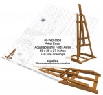 Artist Rack Adjustable Woodworking Plan - fee plans from WoodworkersWorkshop® Online Store - artist easels,artistic,yard art,painting wood crafts,scrollsawing patterns,drawings,plywood,plywoodworking plans,woodworkers projects,workshop blueprints