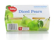 Raley's Diced Pears in Light Syrup - 4 pack, 4 oz cups