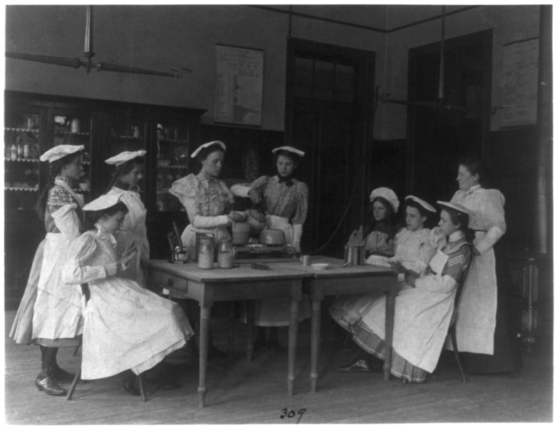 File:Eight girls and teacher in a cooking class in a Washington, D.C., high school.png
