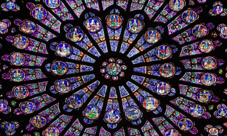 Notre Dame, North side of Rose Window, Paris