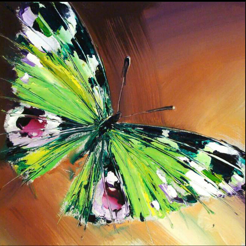 Handmade Modern Knife Green Butterfly Pictures On Canvas Painting Acrylic Paintings Pictures New Abstract Animals Oil
