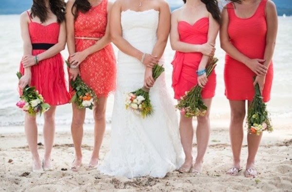 Trendy Red Mismatched Bridesmaids Dress Ideas