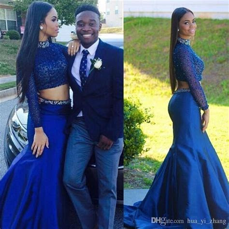 Couples Fashion Royal Blue Prom Dresses Two Pieces 2016