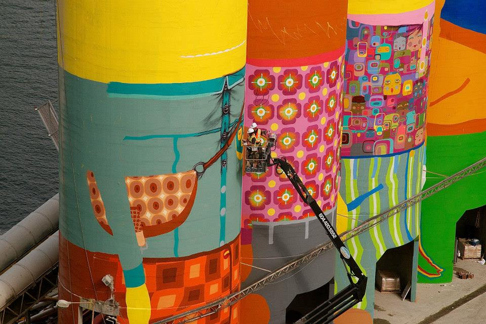 Os Gemeos Converts Industrial Silos in Vancouver into Towering Giants Vancouver street art murals