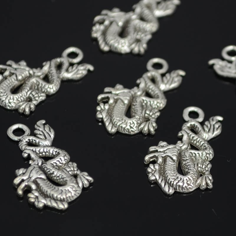 s42313 Metal Charm/Pendant -  Keep on Truckin Chinese Dragon - Bright Silver (1)