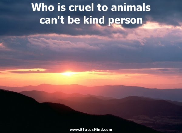 Who Is Cruel To Animals Cant Be Kind Person Statusmindcom