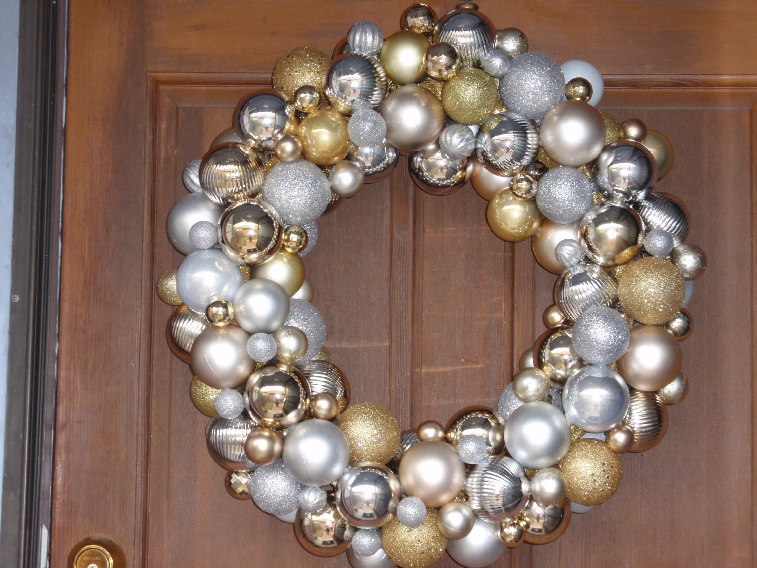 Silver and Gold Ornament Ball Wreath