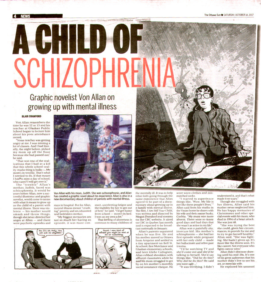 Ottawa Sun article on Von Allan, the graphnic novel the road to god knows..., and the documentary film I Am Still Your Child